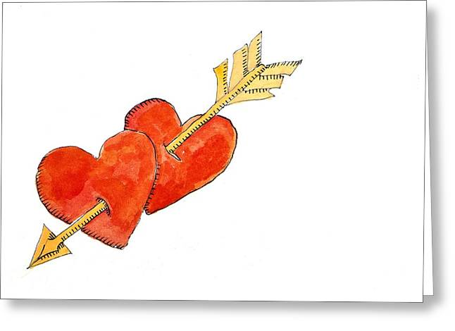 Heart Drawings Greeting Cards - Two hearts   arrow Greeting Card by Jennifer Abbot