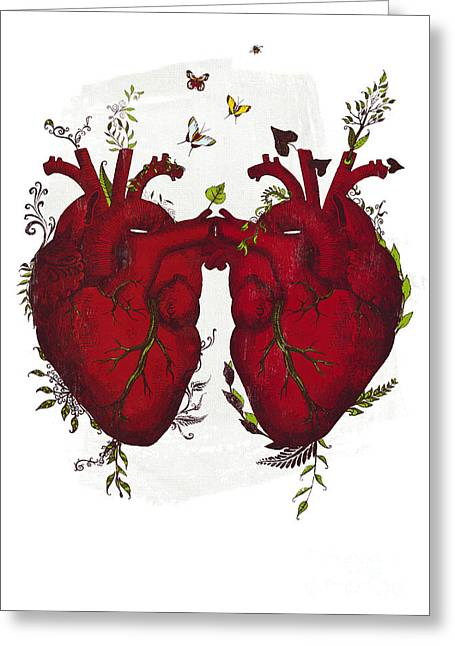 Anatomical Mixed Media Greeting Cards - Two hearts beating as one Greeting Card by Sybille Sterk