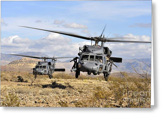 Battleground Greeting Cards - Two Hh-60 Pavehawk Helicopters Greeting Card by Stocktrek Images