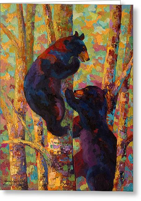 Black Greeting Cards - Two High - Black Bear Cubs Greeting Card by Marion Rose