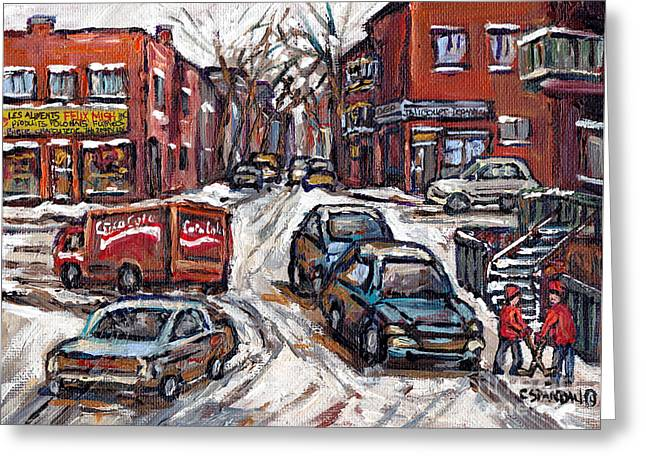 Hockey Paintings Greeting Cards - Two Hockey Pals In Ville Emard Winter Street Scene Painting Felix Mish Charcuterie Montreal Greeting Card by Carole Spandau