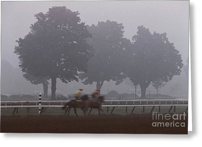 Morning Race Greeting Cards - Two Horses Three Trees Greeting Card by Marc Bittan