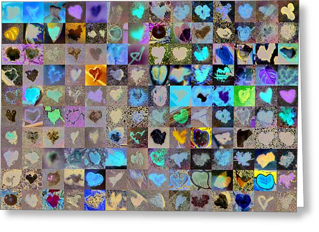 Collages Greeting Cards - Two Hundred and One Hearts Greeting Card by Boy Sees Hearts
