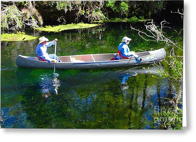 Canoe Greeting Cards - Two in a Canoe Greeting Card by David Lee Thompson