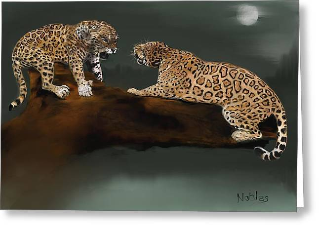 Jaguars Greeting Cards - Two Jaguars fighting Gonna be trouble Greeting Card by Carl Nobles