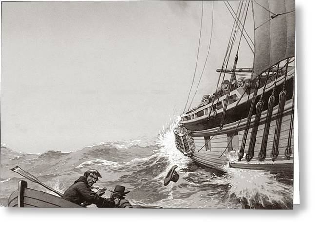 Two King's Messengers Attempt To Row Into The Harbor At Calais  Greeting Card by Pat Nicolle