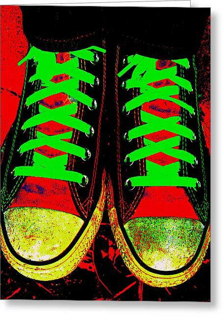 Shoe String Greeting Cards - Two Left Feet Greeting Card by Ed Smith