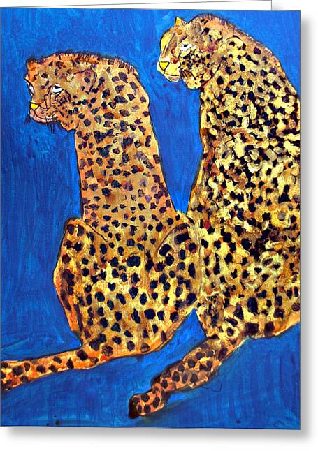 Golden Leopard Greeting Cards - Two Leopards Greeting Card by Don  Wright
