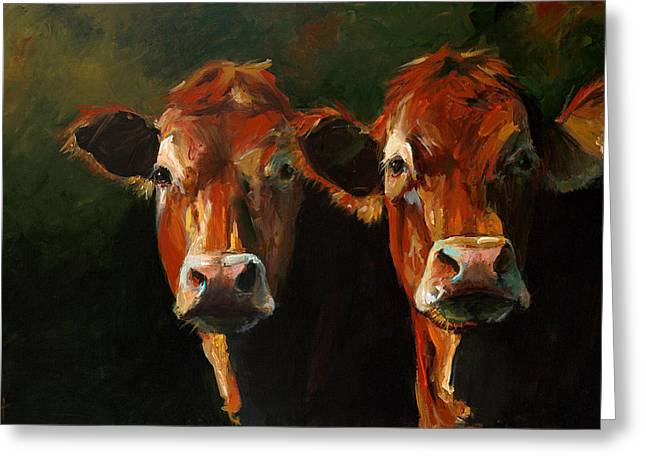 Face Greeting Cards - Two Limousins Greeting Card by Cari Humphry