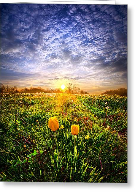Life Line Greeting Cards - Two Lips that Touch at Dawn Greeting Card by Phil Koch