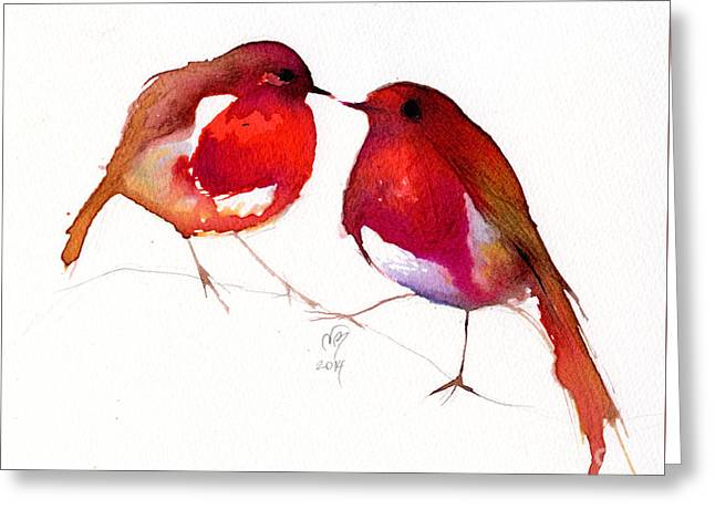 Nose Drawings Greeting Cards - Two Little Birds Greeting Card by Nancy Moniz