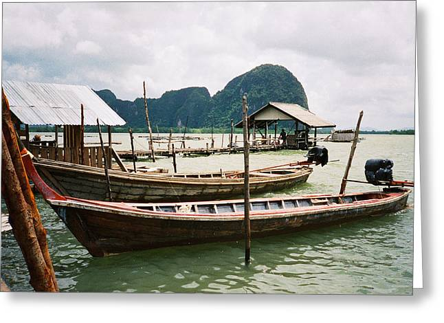 Straits Of Malacca Greeting Cards - Two Long Boats In A Bay Greeting Card by Christine Rivers
