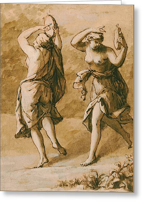 Dancer Drawings Greeting Cards - Two Maenads Greeting Card by John Michael Rysbrack