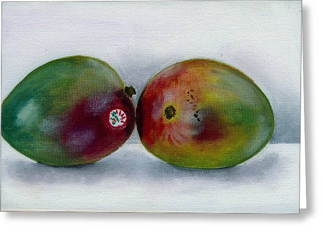 Mango Greeting Cards - Two Mangoes Greeting Card by Sarah Lynch