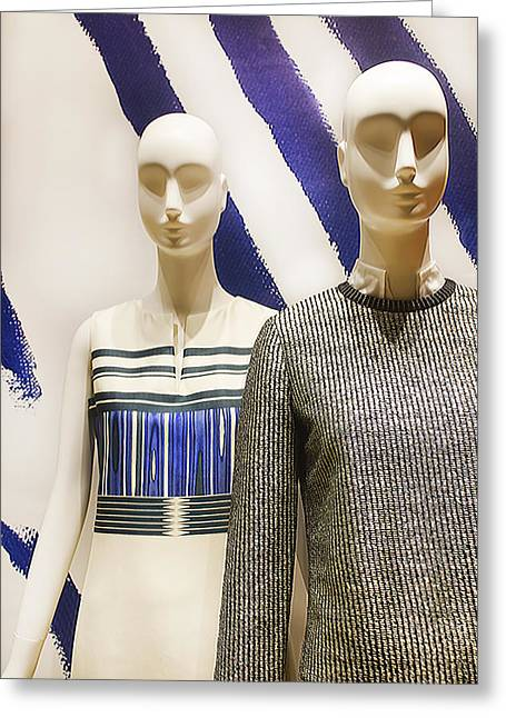 Store Fronts Greeting Cards - Two Mannequins Greeting Card by Carlos Diaz