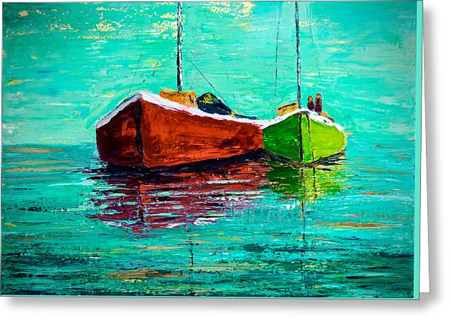 Limited Edition Two Masted Sailboats Greeting Card by Julia S Powell