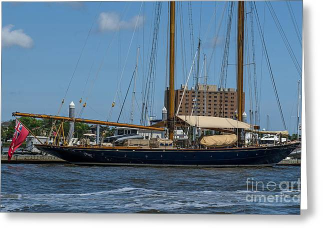 Schooner Greeting Cards - Two Masted Schooner Greeting Card by Dale Powell