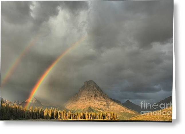 Two Medicine Double Rainbow Greeting Card by Adam Jewell