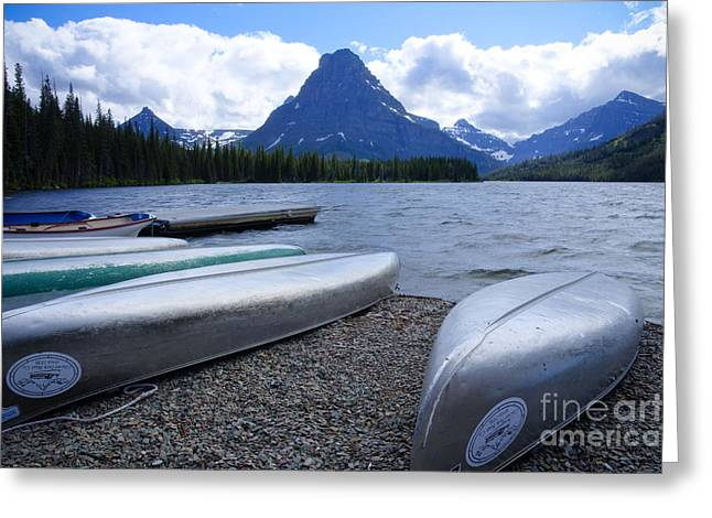 Canoe Greeting Cards - Two Medicine Lake Greeting Card by Idaho Scenic Images Linda Lantzy