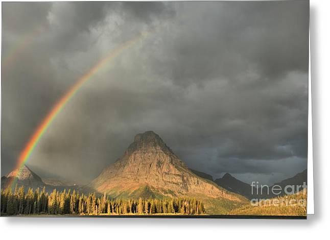 Two Medicine Stormy Rainbow Greeting Card by Adam Jewell