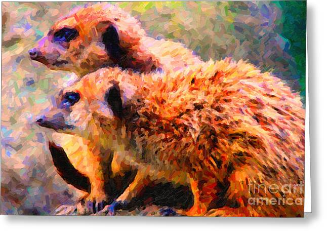 Meerkat Greeting Cards - Two Meerkats . Photoart Greeting Card by Wingsdomain Art and Photography