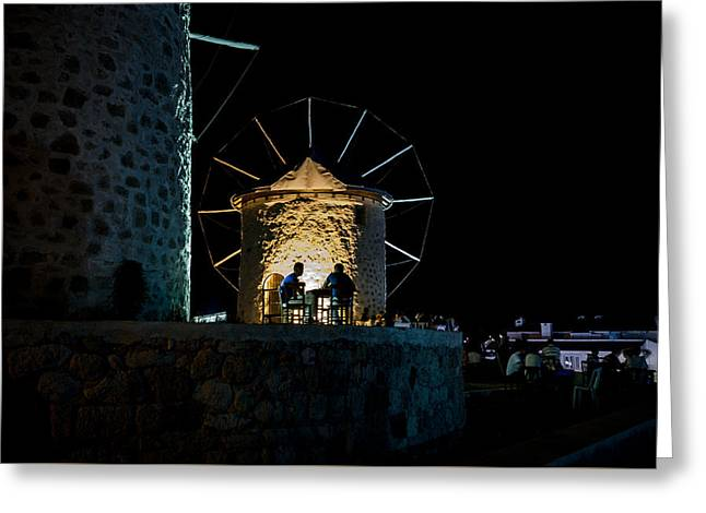 Exposure Greeting Cards - Two Men Eating by the Alacati Windmills Greeting Card by Anthony Doudt