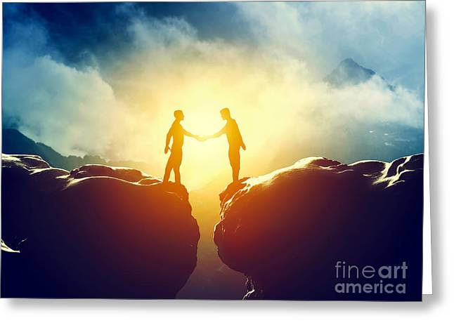 Cooperation Greeting Cards - Two men handshake over mountains precipice Greeting Card by Michal Bednarek