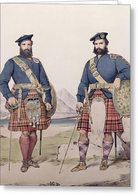Two Men In Highland Dress Greeting Card by Kenneth Macleay