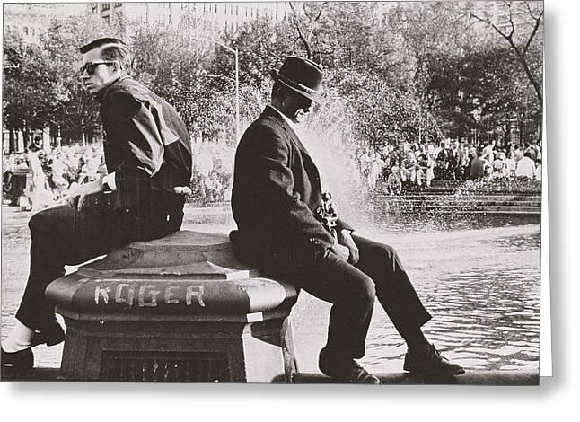 Fountain Photograph Greeting Cards - Two Men Sitting Back to Back Near Washington Square Park Fountain Greeting Card by Nat Herz