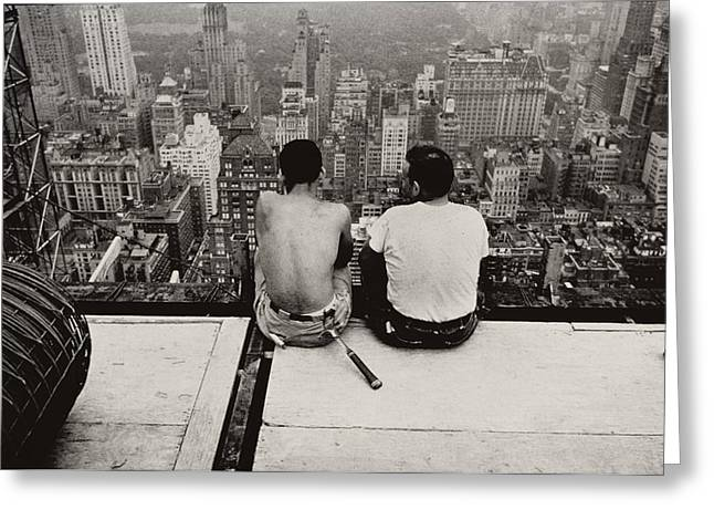 Two Men Sitting On A Scaffold Overlooking Manhattan Greeting Card by Nat Herz
