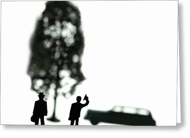Two Men Visit Tree Greeting Card by Mark Wagoner