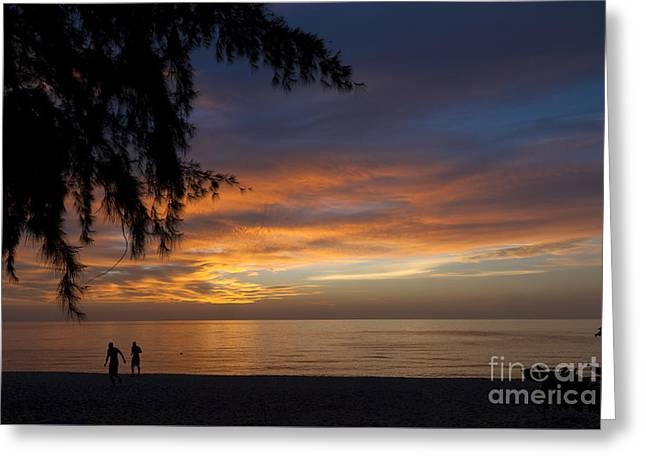 Sunset Posters Greeting Cards - Two men walking on sunset Greeting Card by Claudio Valdes