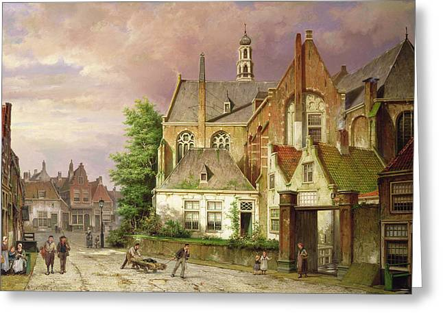 Streetlight Greeting Cards - Two Men with a Cart Greeting Card by Willem Koekkoek