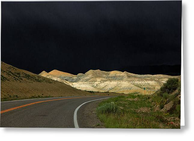 Roadway Greeting Cards - Two Miles to the Moon Greeting Card by David Kehrli