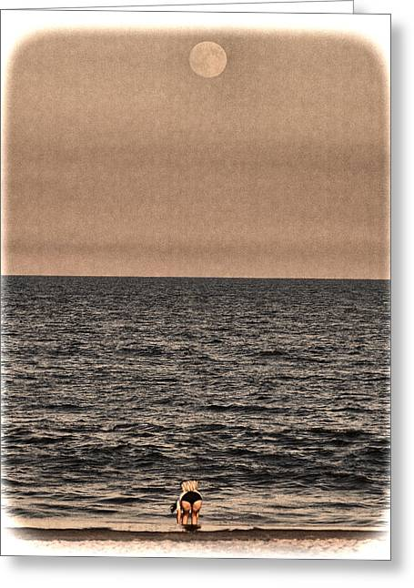 Sea Moon Full Moon Greeting Cards - Two Moons Greeting Card by Ron Schiller