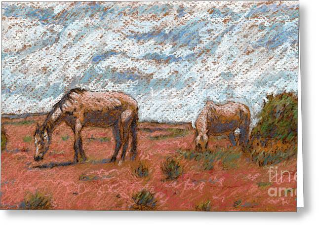 Two Mustangs Greeting Card by Suzie Majikol Maier