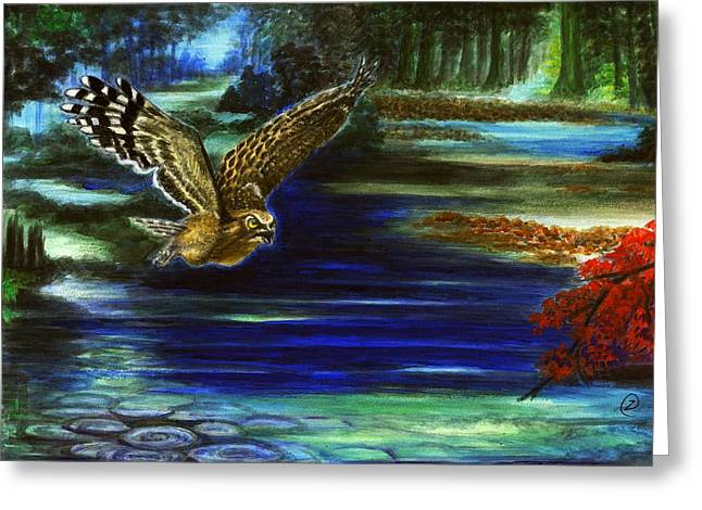 Sun Rays Paintings Greeting Cards - Two. My Impression Of A Marine Sniper- Owl and Swamps Greeting Card by Zong Yi