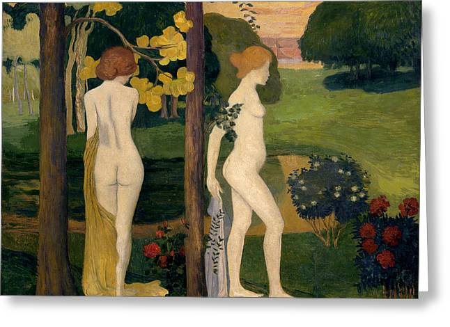Naturism Greeting Cards - Two Nudes in a Landscape Greeting Card by Aristide Maillol