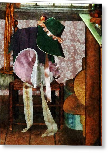 Clothing Greeting Cards - Two Old-Fashioned Bonnets Greeting Card by Susan Savad