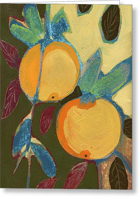Tree Abstract Greeting Cards - Two Oranges Greeting Card by Jennifer Lommers