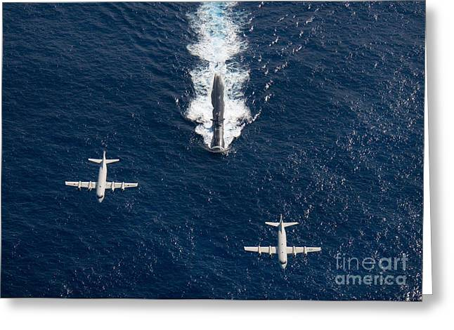 Self View Greeting Cards - Two P-3 Orion Maritime Surveillance Greeting Card by Stocktrek Images