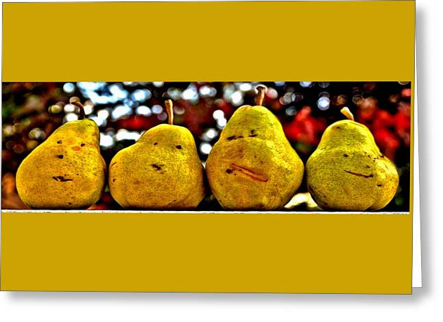 Pairs Greeting Cards - Two Pairs Four Pears Greeting Card by DJ Florek