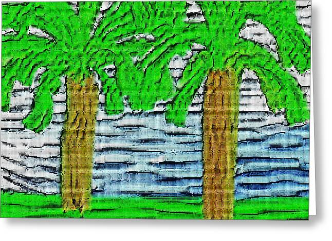 Tetris Block Greeting Cards - Two Palm Trees Greeting Card by Jacquin