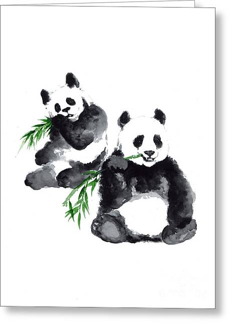 Two Pandas Watercolor Painting Greeting Card by Joanna Szmerdt