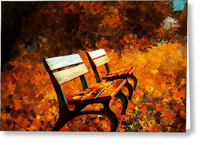 Lawn Chair Greeting Cards - Two Park Benches Greeting Card by Bruce Nutting