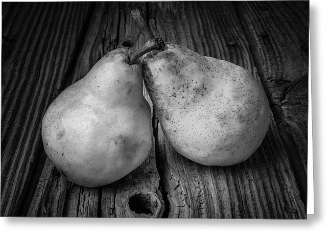 Two Pears Still Life Black And White Greeting Card by Garry Gay