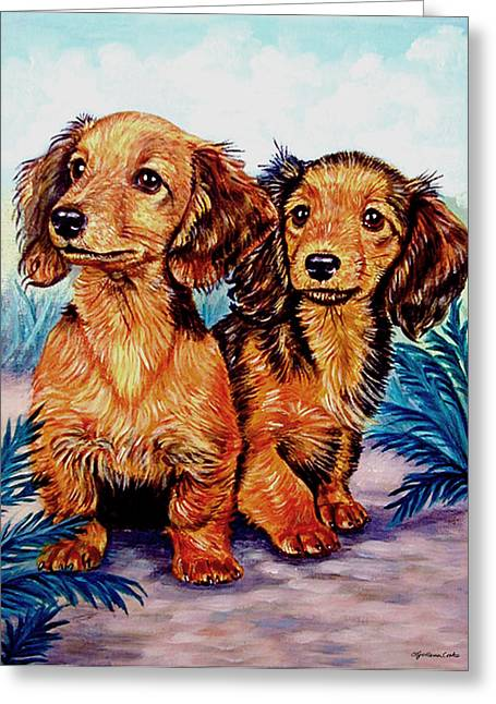 Puppies Greeting Cards - Two Peas in a Pod - Dachshund Greeting Card by Lyn Cook