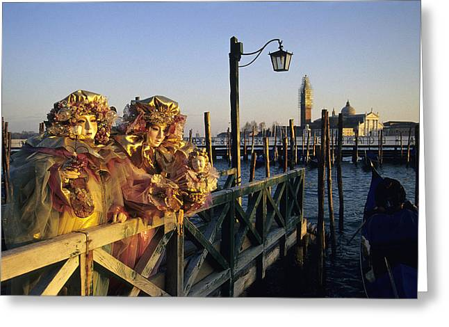 Same Dress Greeting Cards - Two People in Venice Carnival Masks Greeting Card by Petr Svarc