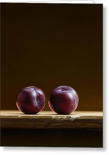 Photorealism Greeting Cards - Two Plums Greeting Card by Mark Van crombrugge