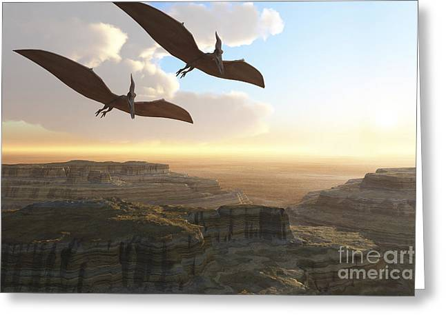 Triassic Greeting Cards - Two Pterodactyl Flying Dinosaurs Soar Greeting Card by Corey Ford